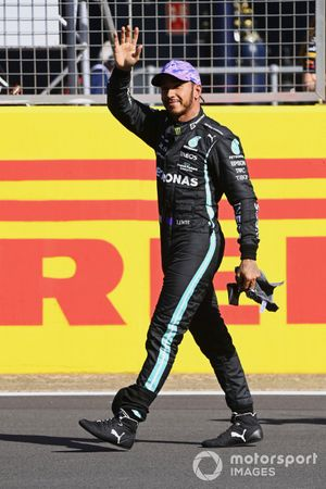Lewis Hamilton, Mercedes, 2nd position, waves to fans after Sprint Qualifying