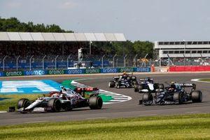 Antonio Giovinazzi, Alfa Romeo Racing C41, Pierre Gasly, AlphaTauri AT02, and George Russell, Williams FW43B