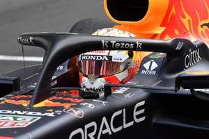 Max Verstappen, Red Bull Racing RB16B, 1st position, arrives in Parc Ferme