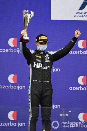 Oscar Piastri, Prema Racing, 2nd position, on the podium