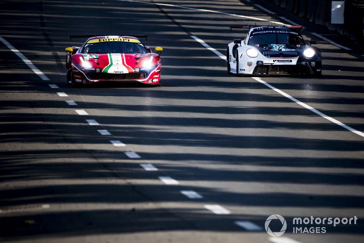#71 AF Corse Ferrari 488 GTE EVO: Davide Rigon, Miguel Molina, Sam Bird, #92 Porsche GT Team Porsche 911 RSR: Michael Christensen, Kevin Estre, Laurens Vanthoor