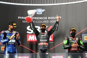 Podium: race winner Jonathan Rea, Kawasaki Racing Team, second place Loris Baz, Ten Kate Racing Yamaha, third place Alex Lowes, Kawasaki Racing Team