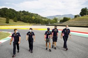 Sergio Perez, Racing Point walks the track with his engineers