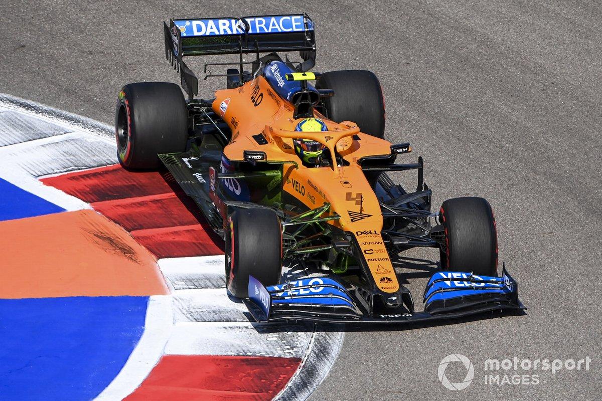 Lando Norris, McLaren MCL35, con parafina