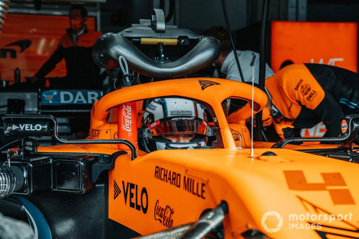 Lando Norris, McLaren, nell'abitacolo