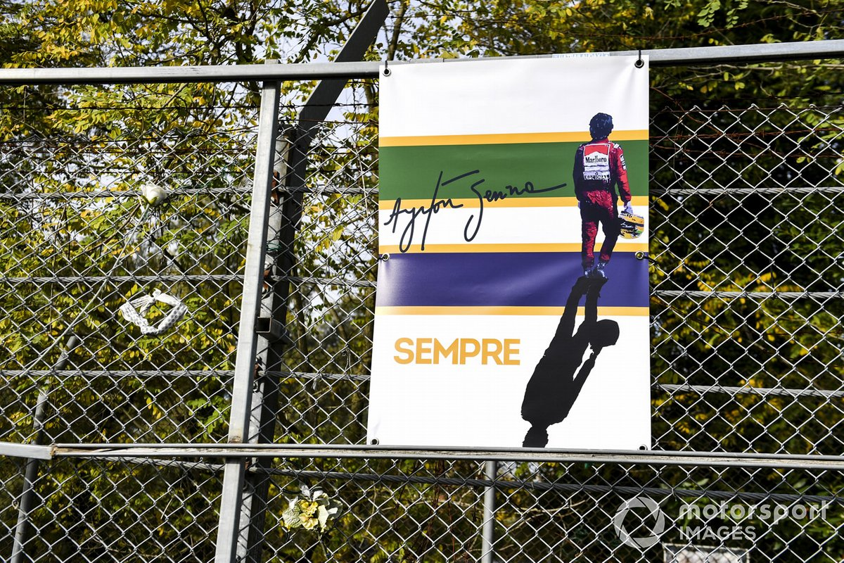 A tribute to Ayrton Senna on the catch fence