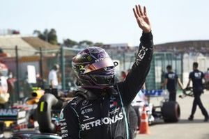Lewis Hamilton, Mercedes-AMG F1, celebrates in Parc Ferme after securing pole