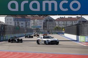 The Safety Car Lewis Hamilton, Mercedes F1 W11, Valtteri Bottas, Mercedes F1 W11, Max Verstappen, Red Bull Racing RB16, and the rest of the field
