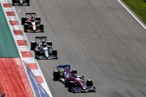 Sergio Perez, Racing Point RP20, Pierre Gasly, AlphaTauri AT01, and Charles Leclerc, Ferrari SF1000