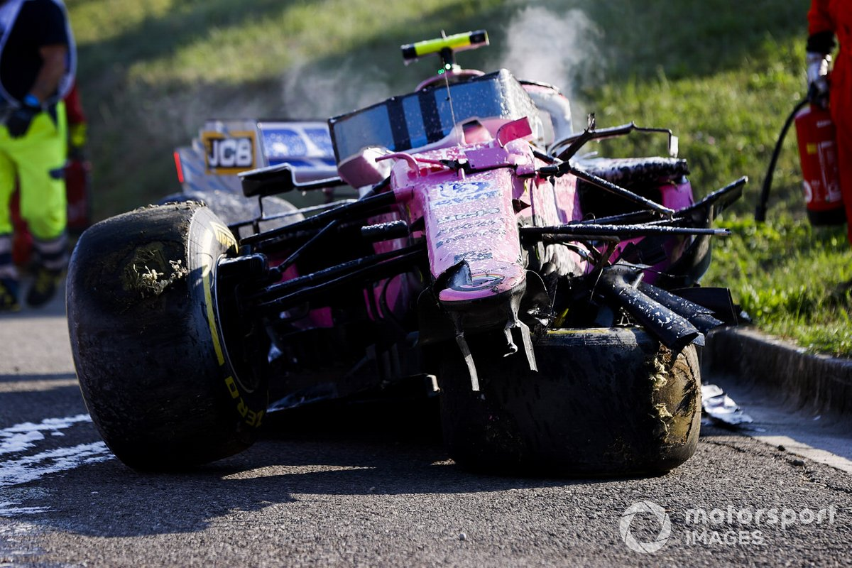 El monoplaza de Lance Stroll, Racing Point RP20 después del accidente