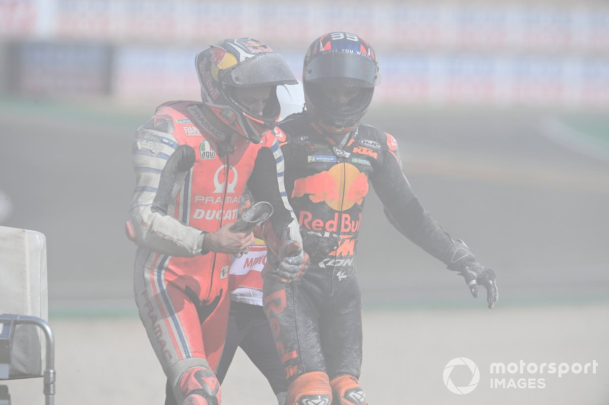 Caída de Jack Miller, Pramac Racing y Brad Binder, Red Bull KTM Factory Racing
