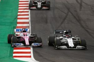 Daniil Kvyat, AlphaTauri AT01, Sergio Perez, Racing Point RP20, and Romain Grosjean, Haas VF-20