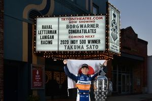 Takuma Sato with the Borg-Warner Trophy at Tryon Theatre