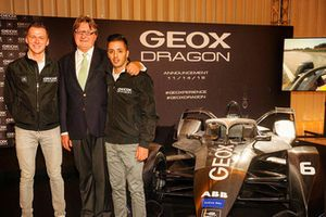 Maximilian Günther and Antonio Fuoco with Mario Moretti Polegato, President and Founder of GEOX
