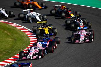 Серхио Перес и Эстебан Окон, Racing Point Force India F1 VJM11, Карлос Сайнс, Renault Sport F1 Team RS18, Кевин Магнуссен, Haas F1 Team VF-18, Даниэль Риккардо, Red Bull Racing RB14, Шарль Леклер, Alfa Romeo Sauber C37, Фернандо Алонсо, McLaren MCL33, и Лэнс Стролл, Williams FW41