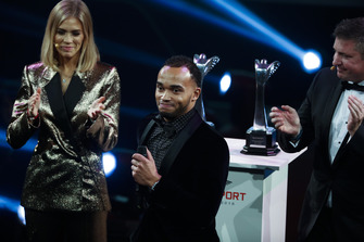 Nicolas Hamilton, brother of F1 World Champion Lewis Hamilton on stage to accept the British Competition Driver and International Racing Driver awards