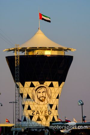 Yas Marina Circuit Watch Tower at Sunset
