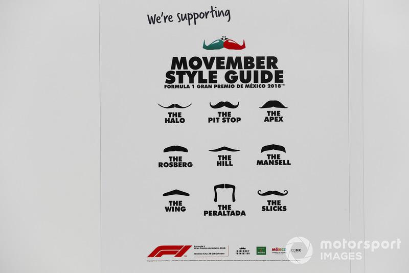 Una guía de estilo de bigote Movember de McLaren con temática de carreras