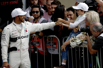 Lewis Hamilton, Mercedes AMG F1, celebrates after securing pole