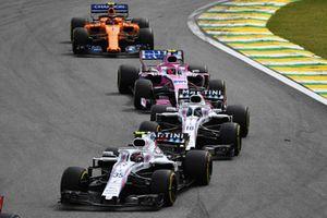 Sergey Sirotkin, Williams FW4, Lance Stroll, Williams FW41, Esteban Ocon, Racing Point Force India VJM11 y Stoffel Vandoorne, McLaren MCL33