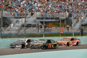 Martin Truex Jr., Furniture Row Racing, Toyota Camry Bass Pro Shops/5-hour ENERGY, Aric Almirola, Stewart-Haas Racing, Ford Fusion Smithfield, and Daniel Suarez, Joe Gibbs Racing, Toyota Camry ARRIS