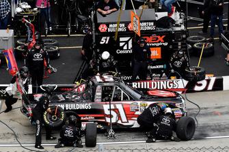 Harrison Burton, Kyle Busch Motorsports, Toyota Tundra Morton Buildings, makes a pit stop