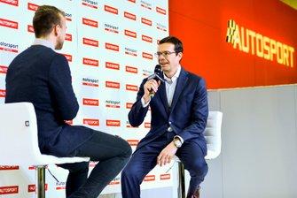 WRC Managing Director Oliver Ciesta on stage with journalist Jack Benyon