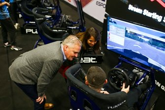 Johnny Herbert visits the Le Mans 24 Hour, WEC, Esports simulator stand
