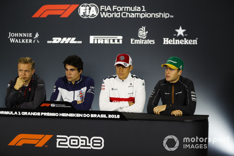Kevin Magnussen, Haas F1 Team, Lance Stroll, Williams Racing, Marcus Ericsson, Sauber, and Stoffel Vandoorne, McLaren, in the Thursday press conference