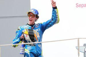 Podio: il secondo classificato Alex Rins, Team Suzuki MotoGP