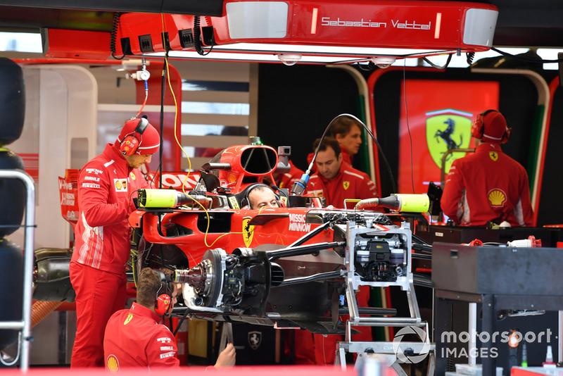 La Ferrari SF-71H dans le garage