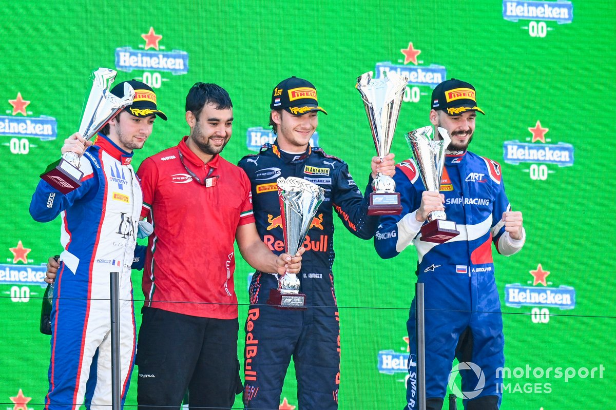 Clement Novalak, Trident, Dennis Hauger, Prema Racing y Alexander Smolyar, ART Grand Prix