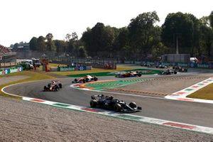 Valtteri Bottas, Mercedes W12, Max Verstappen, Red Bull Racing RB16B, and Daniel Ricciardo, McLaren MCL35M