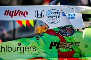 Oliver Askew, Rahal Letterman Lanigan Racing Honda, avec un sticker en hommage à Robin Miller