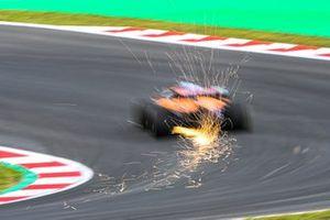 Sparks fly from Daniel Ricciardo, McLaren MCL35M