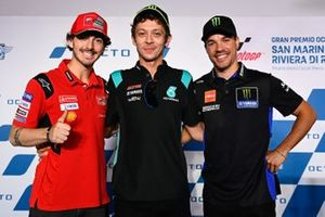 Francesco Bagnaia, Ducati Team, Valentino Rossi, Petronas Yamaha SRT, Franco Morbidelli, Yamaha Factory Racing