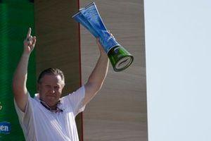 Zak Brown, CEO, McLaren Racing, with the Constructors trophy