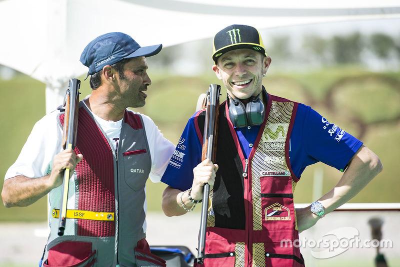 Valentino Rossi Yamaha Factory Racing Nasser Al Attiyah At Losail Shooting Club