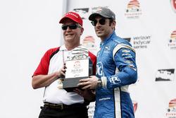Second place Simon Pagenaud, Team Penske Chevrolet getting trophy