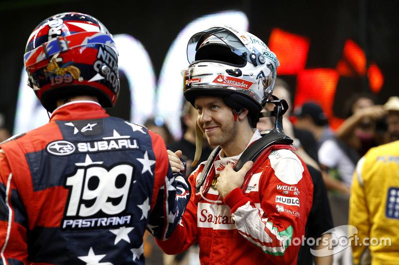Travis Pastrana con Sebastian Vettel