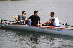 Matt Morris, Engineering Director, McLaren, Stoffel Vandoorne, McLaren, row on the Saint Lawrence River, reporter Tom Clarkson