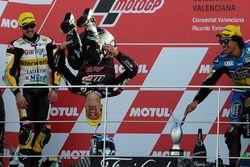 Podium : le vainqueur Johann Zarco, Ajo Motorsport, le deuxième, Thomas Lüthi, Interwetten, le troisième, Franco Morbidelli, Marc VDS