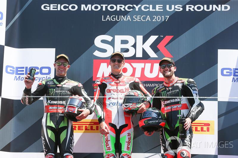 Переможець гонки Чаз Девіс, Ducati Team, друге місце Джонатан Рей, Kawasaki Racing, третє місце Том Сайкс, Kawasaki Racing