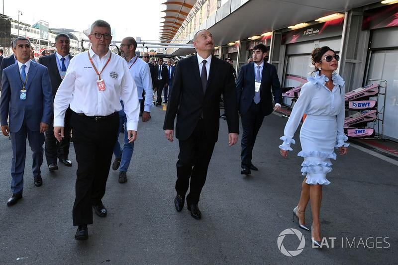 Illham Aliyev, Präsident Aserbaidschan und Ross Brawn, F1-Motorsportdirektor