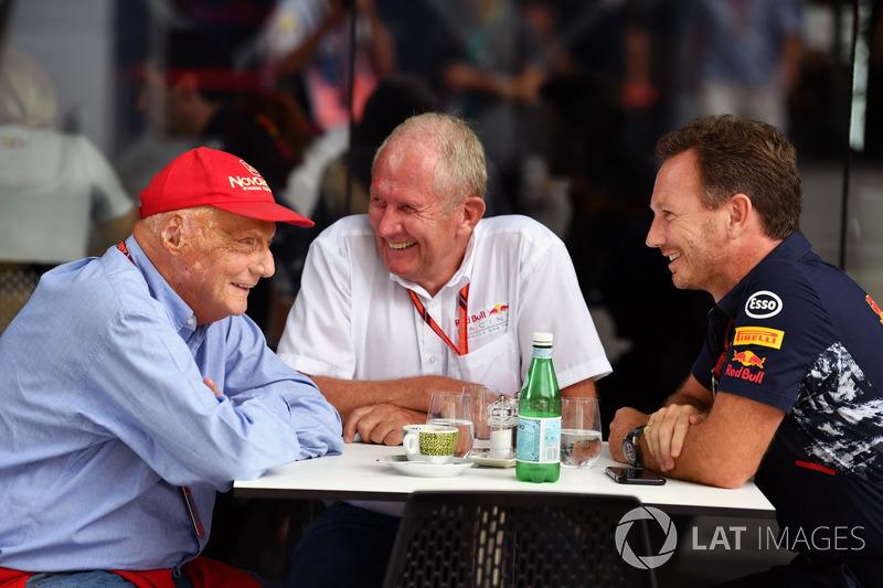 Niki Lauda, Presidente Non-Esecutivo Mercedes AMG F1, Dr Helmut Marko, Consulente Red Bull Racing Mo