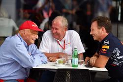 Niki Lauda, Mercedes AMG F1, Dr Helmut Marko, Red Bull Racing Motorsport y Christian Horner, Red Bull Racing Team Principal