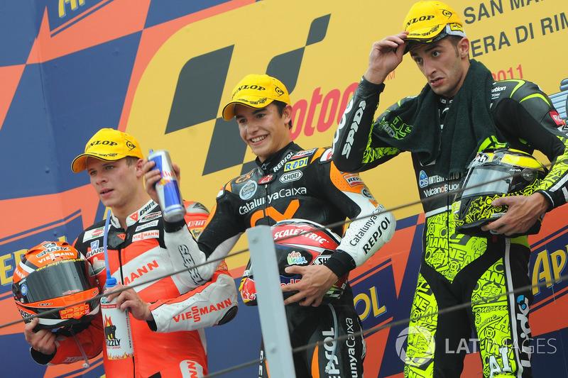 Le podium du GP de Saint-Marin 2011 de Moto2 : Marc Márquez, Stefan Bradl, Andrea Iannone
