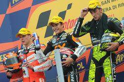 Le podium du GP de Saint-Marin 2011 de Moto2 : Marc Marquez, Stefan Bradl, Andrea Iannone