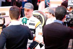 Stoffel Vandoorne, McLaren, and Fernando Alonso, McLaren, are interviwed by the media