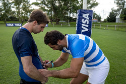 Rugby player Juan Manuel Leguizamón with Antonio Felix da Costa, Amlin Andretti Formula E Team